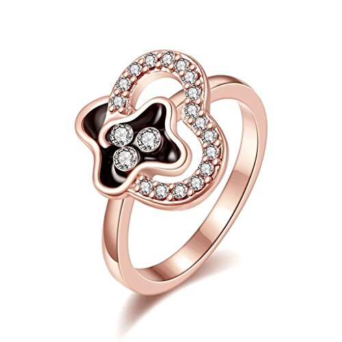 AmDxD Jewelry Gold Plated Women Rings Rose Gold Slim Heart Shape CZ Wedding Bands Size 8