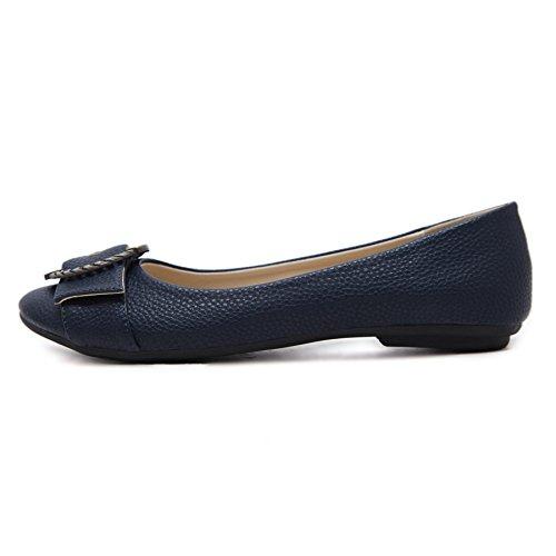 Meeshine Mujeres Ballet Flats Comfort Slip On Zapatos De Vestir De Moda Azul Marino