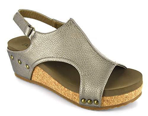 Footwear Pumps - Corkys Footwear Womens Platform Strap Pump(Volta Pewter,10 M US)