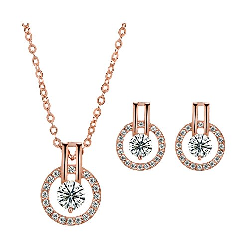 Rose Gold Plated Circle - 18k Rose Gold Plated Circle Halo Stud Earring with Swarovski Crystal Valentine's Jewelry Gift (ROSE-2B)