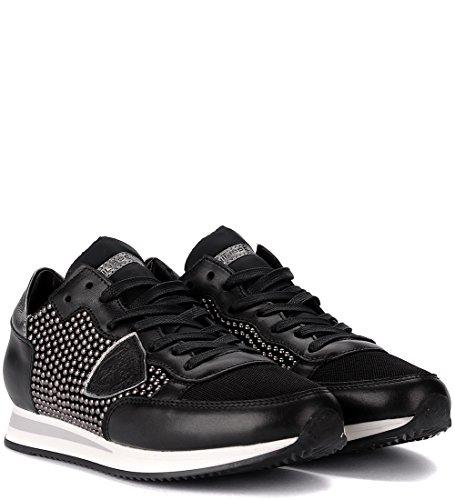 Model Negro Tropez Piel Negra Clavos Micro Con Sneaker Philippe De wUWzE