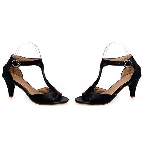 TAOFFEN Mujer Moda T-Strap Sandalias Tacon Embudo Tacon Medio Peep Toe Verano Zapatos Con Hebilla 517 Negro