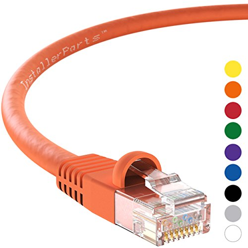 InstallerParts CAT6 Ethernet Cable 3 FT Orange - UTP Booted - Professional Series - 10 Gigabit/Sec Network/High Speed Internet Cable, 550MHZ (200 Label 3')