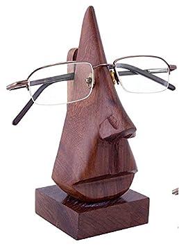 SKAVIJ Œil Verre Titulaire Supporter - Sculpté Nez pour Lunettes ou des Lunettes de Soleil - en Bois Spectacle Titulaire Afficher Supporter pour Bureau Bureau CZFFCoMN