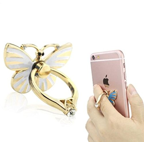 Jesiya Luxury 3D Shiny Crystal Bling Diamond Glitter Butterfly Re-Usable Metal Stainless Phone & Tablet Anti Drop Ring Stand Holder ()
