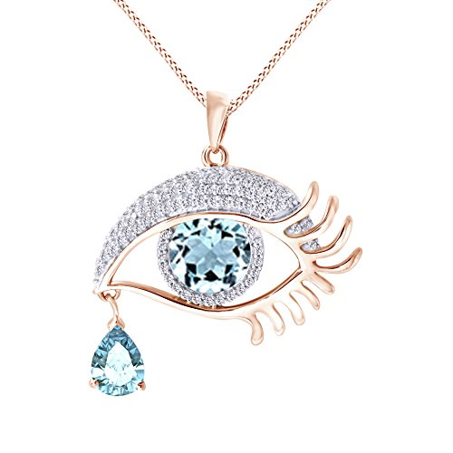 - Jewel Zone US Angel Eye Teardrop Simulated Aquamarine Pendant Necklace in 14K Rose Gold Over Sterling Silver