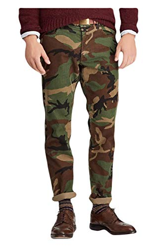 Ralph Lauren Polo Mens Prospect Straight Fit Camouflage Corduroy Pants Green (32 x ()