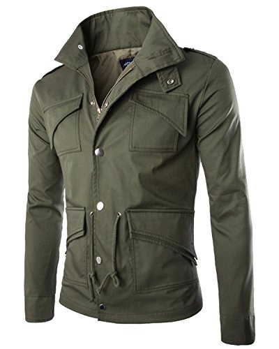 eight Cotton Windbreaker Zip Button Jacket Casual Military Coat Army Green Medium (Army Green Mens Military Jacket)
