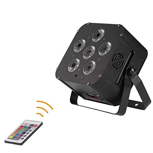 Lixada DJ Lights 108W RGBWAP+Rechargeable+Build in Wireless DMX Receiver,6 gobos Par Lights 6/10 Channel  Stage Effect Lighting with Remote Controller