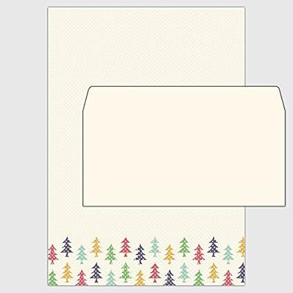 Set: 25 x Papel Navidad - Multicolor Árboles de Navidad - Din A4 y ...