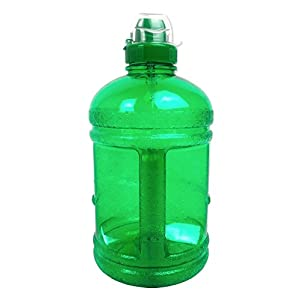 Green 64OZ/1.89L BPA Free Plastic Water Bottle Half Gallon Drink Gym Canteen Jug Container Sports Cap Camping Hiking Drinking Water Bottle