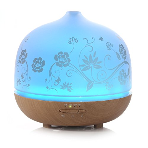 ISELECTOR-500ml-Glass-Aromatherapy-Essential-Oil-Diffuser-with-7-Changing-LED-Colors-and-Waterless-Auto-Shut-off-Wood-Grain-Base