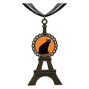 Chicforest Bronze Retro Style Halloween black cat Eiffel Pendant