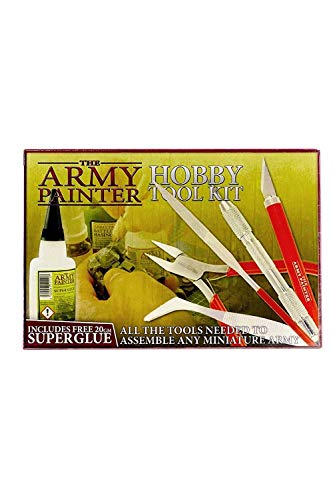 The Army Painter Hobby Tool Kit - 7-Piece Wargamers Model Kit for Miniatures with Green Stuff and Model Glue - Model Tool Kit with Drill
