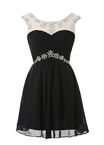 Womens Chiffon Short Wedding Dress Cocktail Party Dresses (Black) - 8