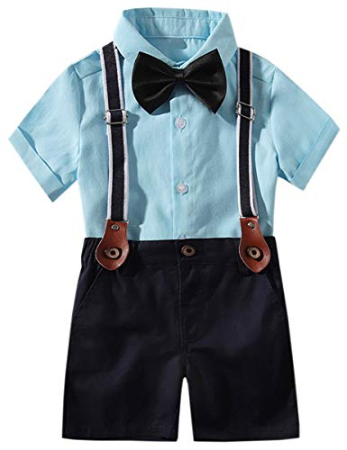 Baby Boys Summer Clothes, Short Sleeves Button Down Dress Shirt and Suspender Pants Set Tuxedo Gentlemen Outfit with Bow Tie, Blue, 12-18 Months = Tag 80