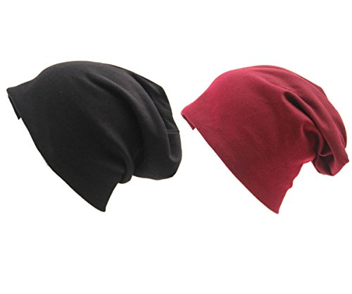 Durio Fashion Soft Durable Hip-Hop Soft Stretch Popular Cap Cotton Baggy Special Thin Beanie Casual Fashionable Hat 2 Pack Black Burgundy One Size by Durio