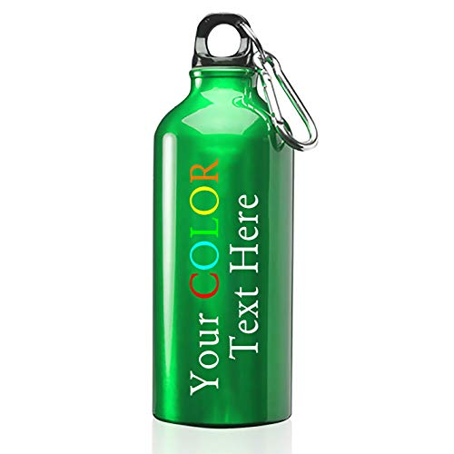 Hat Shark Customized Personalized 17 oz Custom Stainless Steel Water Bottle - Your Custom Text Printed in Full Color (Green) -