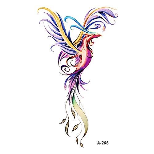 WYUEN 5 Sheets Phoenix Temporary Tattoo Fake Tattoo Sticker For Women Men Hand Body Art 9.8X6cm (FA-206)