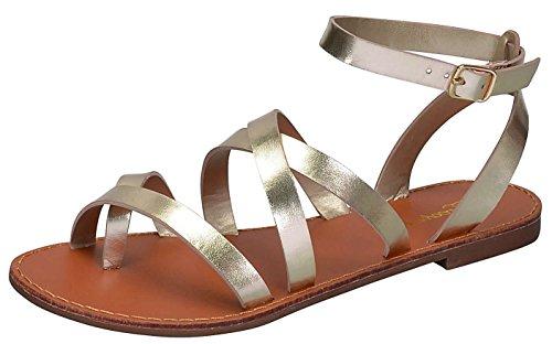 Breckelles Women's Strappy Gladiator Ankle Wrap Flat Sandal (8.5 B(M) US, Champagne)