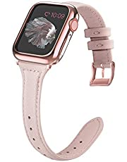 MARGE PLUS Compatible Apple Watch Band with Case 38mm 40mm Women, Slim Genuine Leather Watch Strap with Soft TPU Protective Case Replacement for iWatch Series 5 4 3 2 1