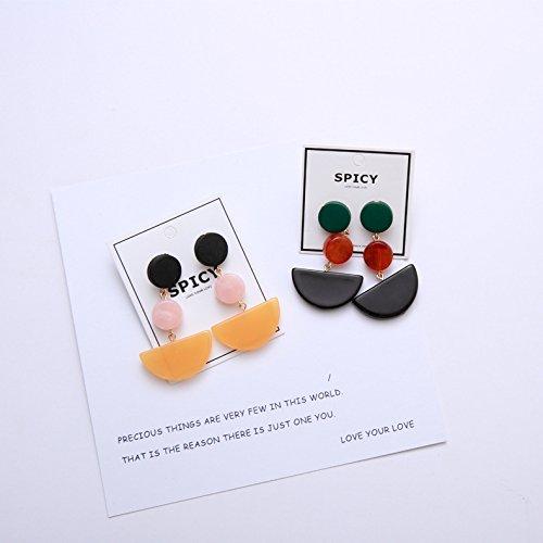 - usongs Spicy original hand-made earring stud earrings burgundy yellow color hit acetate resin earring 742 earring