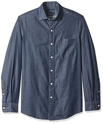 - BUTTONED DOWN Men's Classic Fit Indigo Denim Cotton Sport Shirt, Dark Blue, X-Large