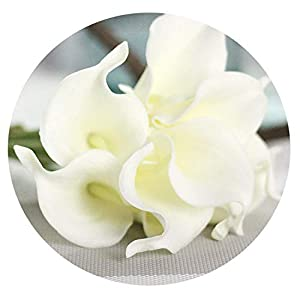 20PCS PU Calla Lily Artificial Flowers Bouquet Real Touch artificiales para Decora for Home Wedding Decoration Flowers,White,10PCS 56