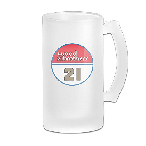 Wood Brothers Racing 21 Ryan Blaney Great Extra Large Frosted Glass Beer Mug, Personalized Beer Stein, Tea / Coffee Cups - 17 Ounce / 500ML