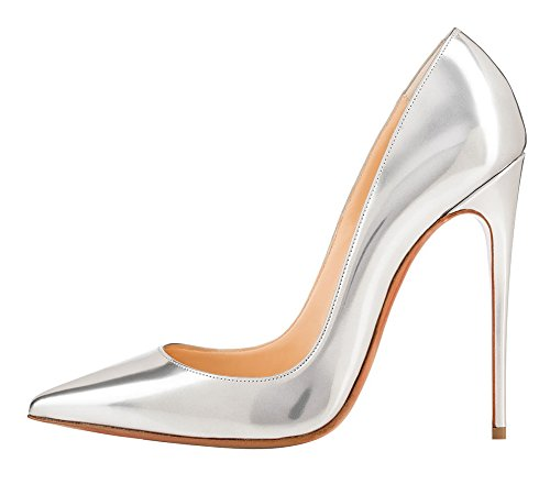 Image of MONICOCO Women's Pointed Toe High Heels Dress Party Pumps Shoes Mirror Patent Silver 7 M US