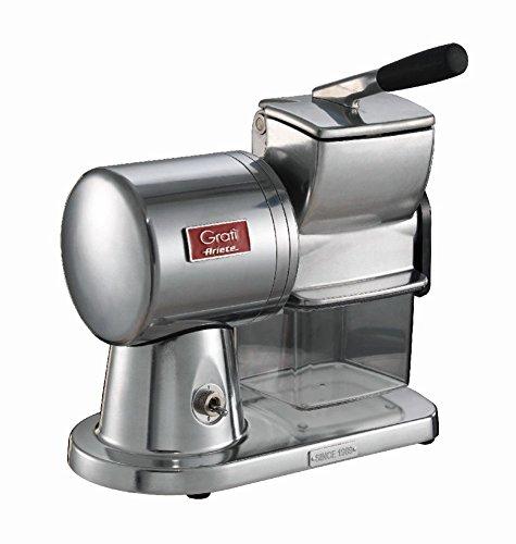 Ariete 449 Gratì Superior - Grattugia Elettrica Professionale in alluminio pressofuso per formaggio, pane, cioccolata, frutta secca - Argento Spazzolato Lucido 00C044900AR0