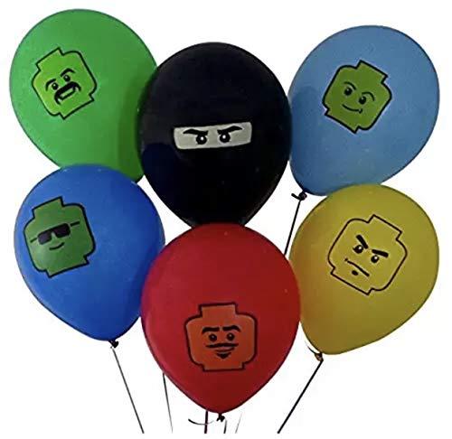 LEGO 6 Piece Latex Party Balloons Bundle Set Birthday Set 12 Inch]()