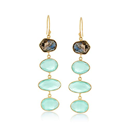 Ross-Simons Blue Chalcedony and Labradorite Linear Earrings in 18kt Gold Over Sterling (Freeform Earwire Earrings)