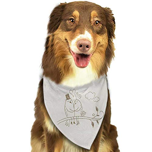 Dog Bandana Wedding Celebration Romantic Hand Drawn Two Birds on Branch Love Valentines Husband Wife W27.5 xL12 Scarf for Small and Medium Dogs and Cats