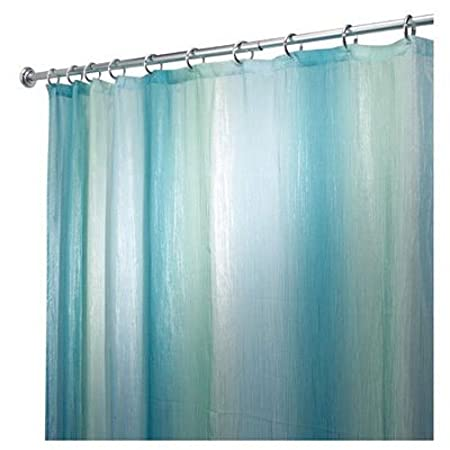 InterDesign Ombre Fabric Shower Curtain Polyester Long Blue Green