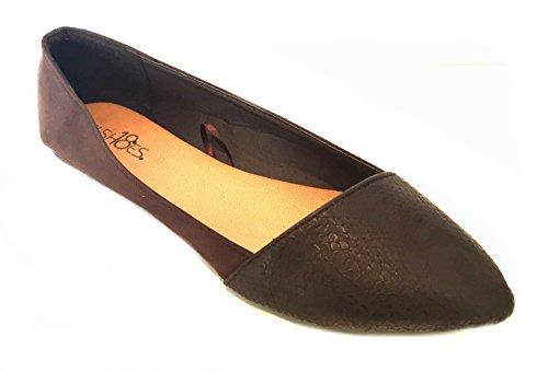 Shoes8teen Kvinners Faux Semsket Dagdriver Røyking Sko Leiligheter 3 Farger Brun 5069a