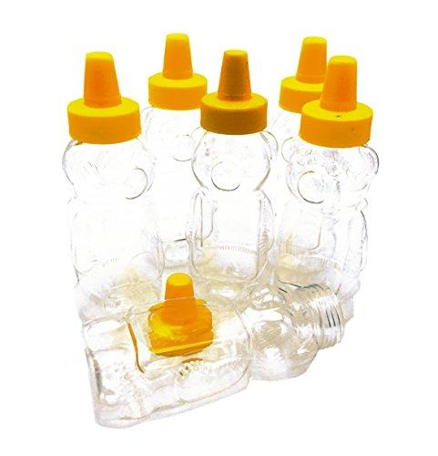 6 pack Empty Plastic Bear Bottles,8 oz honey jar with Yellow Caps (Bear Honey Jar)
