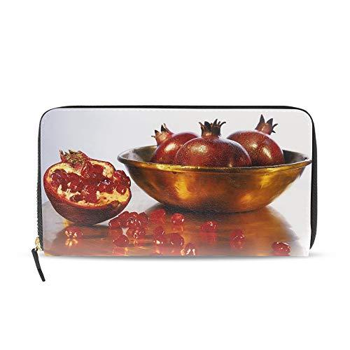 (Women's Pomegranate Table Bowl Grains Fruit Zip Around Wallet Clutch Large Travel Purse)