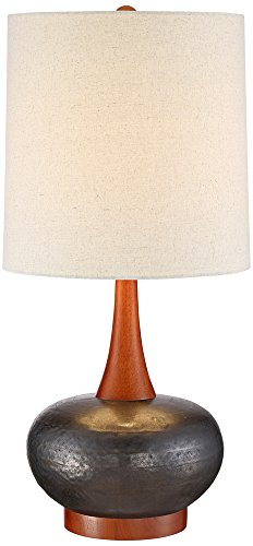 "Andi Mid Century Modern Table Lamp Hammered Bronze Ceramic Wood Off White Tall Drum Shade for Living Room Family Bedroom - 360 Lighting - 24 1/2"" high overall. Base is 5 1/4"" wide. Shade is 11"" across the top x 12"" across the bottom x 12"" high. Weighs 5.7 lbs. Uses one maximum 100 watt standard-medium base bulb (not included). On-off socket switch. Mid-Century Modern table lamp from the 360 Lighting brand. - lamps, bedroom-decor, bedroom - 41duuLp cCL -"
