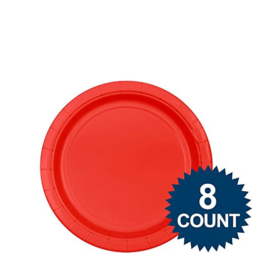Apple Red Plastic Plates. 8 Ct. | Party Tableware