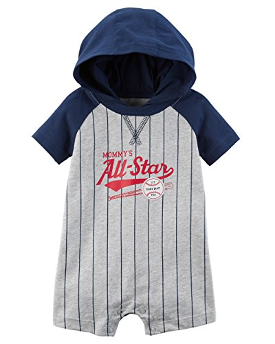 Carter's Baby Boys' Hooded French Terry Romper (24 Months, Heather/Baseball)