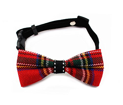 [Wildforlife Adjustable Pet Plaid Bows Tie Collar for Cats and Dogs (Red Plaid, XS(fit neck 6