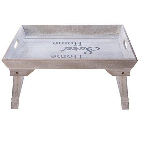 elbmobel cama Bandeja (Madera, 48x 33x 25cm Bandeja para desayuno en la cama con patas plegables, para 2Bandeja Mesa y sofa mesa mesa auxiliar con bandeja Natural