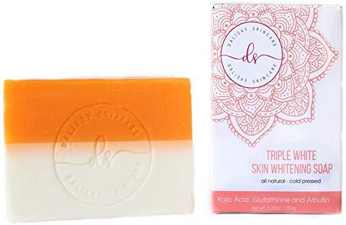 Triple Whitening Skin Whitening Soap Kojic + Arbutin + Glutathione 150g - Fades Acne Scars and Blemishes (Arbutin Whitening Skin)