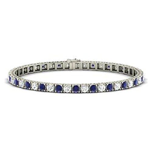 Silvercz Jewels 14K White Gold Fn 8.97Ct Round Sapphire & Sim Diamond Box Link Tennis Bracelets -