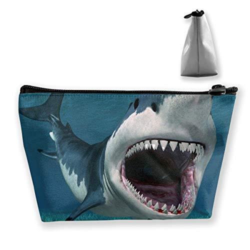 pengyong Shark Underwater Seabed Algae Teeth Makeup Bag Large Trapezoidal Storage Travel Bag Wash Cosmetic Pouch Pencil Holder Zipper Waterproof