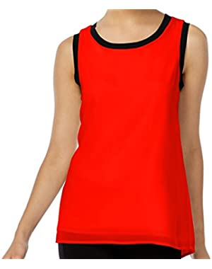 Calvin Klein Women's Ribbed Trim Crewneck Tank Top Red XL