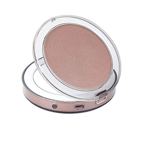 IslandseLED Glow Up Compact Mirror Mini Makeup Mirror Magnify Hand Held Fold Portable (Rose Gold) (Beaded Border Earrings)