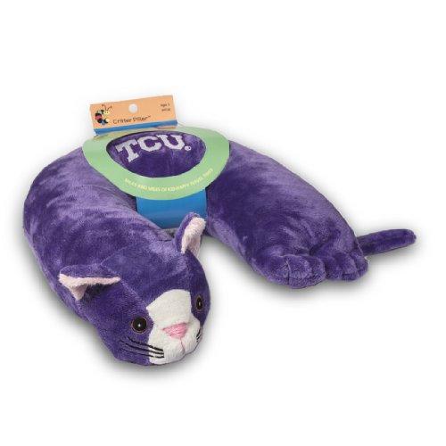 Critter Piller NCAA Kid's Travel Neck Pillow, Texas Christian Horned Frogs Purple Cat