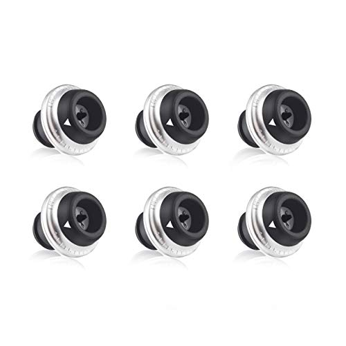 - EZBASICS Wine Stoppers with Vacuum - 6 Pack, Black